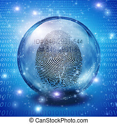 Id - Fingerprint contained in glass sphere with Id Number