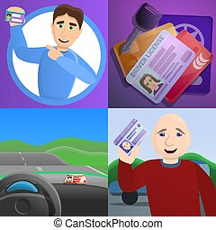 Id driver license banner set, cartoon style
