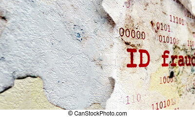Id fraud text on paper hole