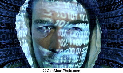 ID theft looking at the camera with binary codes reflections...