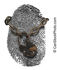 ID theft with open lock - fingerprint with open padlock and...