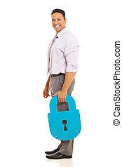 idade, meio, padlock, segurando, homem segurança