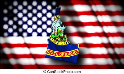 Flag of Idaho in the shape of Idaho state with the USA flag in the background animation