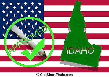 idaho, auf, cannabis, hintergrund., droge, policy., legalization, von, marihuana, auf, usa markierung