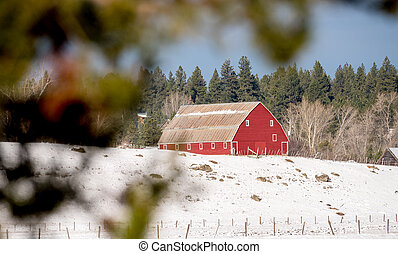 Idaho barn with snow and a forest