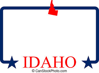 Idaho state map, frame and name.