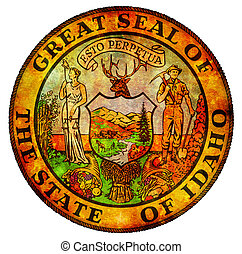 idaho coat of arms - old vintage isolated over white symbol...