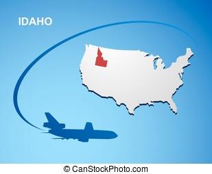 Idaho on USA map