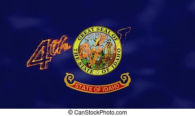 Idaho flag background for 4th of july sparkling fire lettering, loop