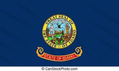 Idaho flag waving cloth, ideal for background, loop