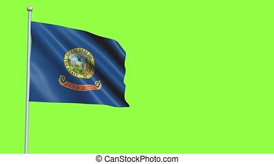 Idaho Flag in 3D render with green screen background in Slow Motion