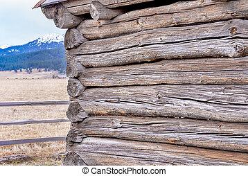 Idaho logs of a log cabin and mountain