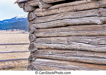 Idaho logs of a log cabin and mountain