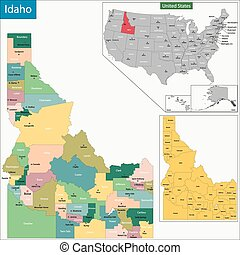 Idaho map - Map of Idaho state designed in illustration with...