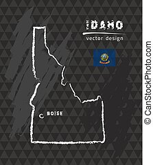 Idaho map, vector pen drawing on black background