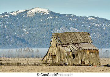 Idaho mountain and a rustic barn in the country