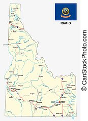 idaho road map with flag