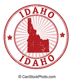 Grunge rubber stamp with the name and map of Idaho, vector illustration