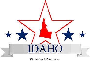 Idaho star - Idaho state map, star and name.