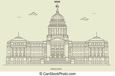 Idaho State Capitol in Boise, USA. Landmark icon in linear style