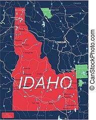 Idaho state detailed editable map