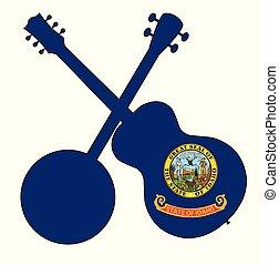 Idaho State Flag Banjo And Guitar Silhouette