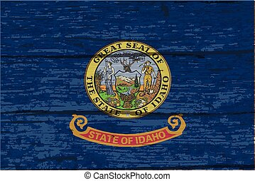 Idaho State Flag On Old Timber