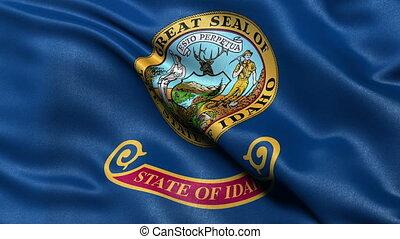 US state flagof Idaho waving in the wind - seamless loop
