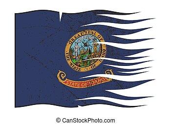 Idaho State Flag Wavy And Grunged