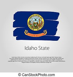 Idaho State Flag with colored hand drawn lines in Vector Format