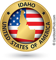 Idaho state gold label with state map, vector illustration