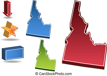 Idaho State map icon set.