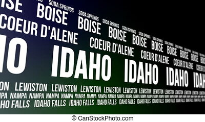 Animated scrolling banner with the Idaho state name and some of the names of major and well known cities within the American state.