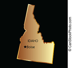 Idaho state map in gold