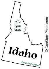 Idaho State Motto and Slogan - An Idaho state outline with...
