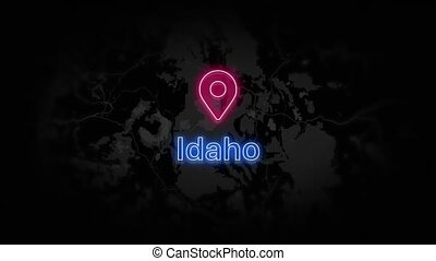 Idaho State of the United States of America. Animated neon location marker on the map. Easy to use with screen transparency mode on your video. 4k 30 fps.