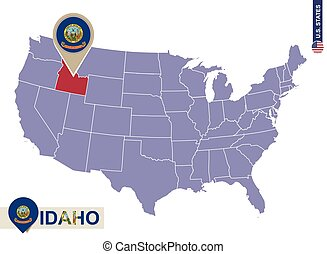 Idaho State on USA Map. Idaho flag and map.