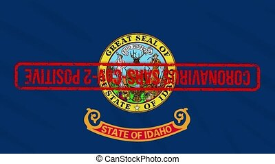 Idaho US state swaying flag stamped with red positive response to COVID-19, loop