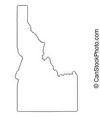 idaho, (usa), contorno, mapa