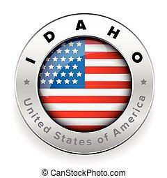 Idaho Usa flag badge button vector