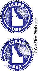 Idaho USA Stamps - A couple of distressed stamps featuring a...