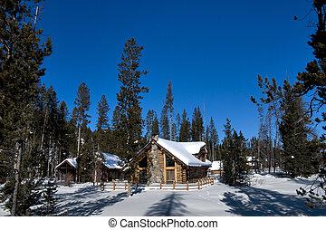 Idaho Winter Log Cabin