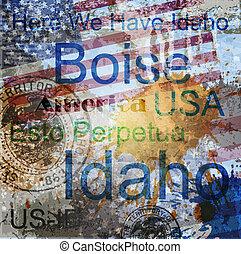 Idaho. Word Grunge collage on background.