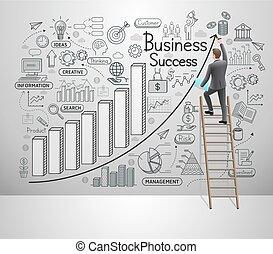 ide, set., vektor, illustration, style., wall., doodles, iconerne, forretningsmand, firma, held, affattelseen