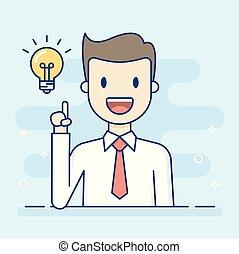 idea., ビジネスマン, よい, 持つこと, 幸せ