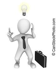idea., 新しい, 3d, ビジネス, ビジネスマン