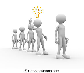 3d people - man, person and a light bulb. Concept of idea