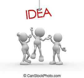 "Idea - 3d people - men, person are fighting for a word ""idea..."