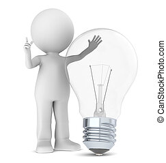 3d Small Human with a Light Bulb