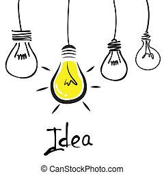 Idea - abstract cartoon bulbs representing an idea on white ...